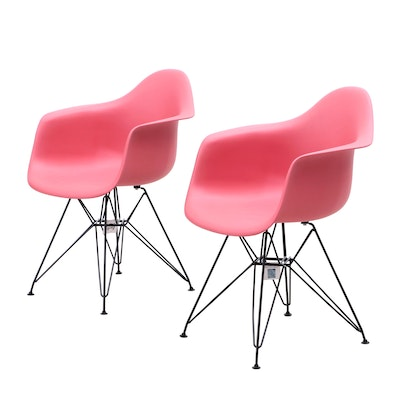 Pair of GIA, Modernist Style Molded Plastic and Metal Armchairs
