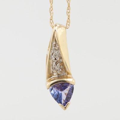 10K Yellow Gold Tanzanite and Diamond Necklace