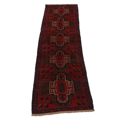 Hand-Knotted Pakistani Baluch Wool Carpet Runner