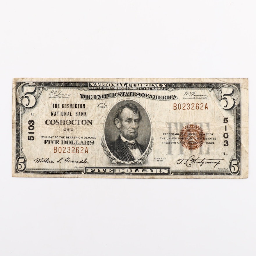 Series of 1929 Five Dollar National Currency Banknote