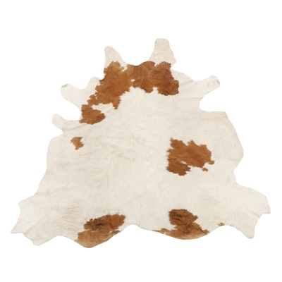 Brazilian White and Brown Spotted Cowhide Rug