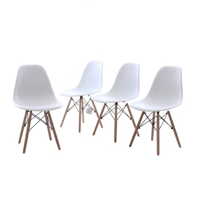 Vecelo, Modernist Style White Molded Plastic and Natural Wood Dining Side Chairs