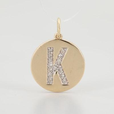 "14K Yellow Gold Diamond ""K"" Pendant"