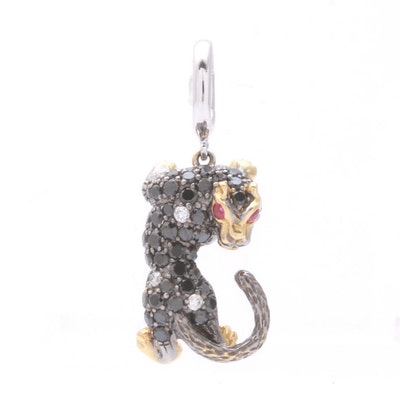 18K White and Yellow Gold Diamond and Ruby Jaguar Pendant