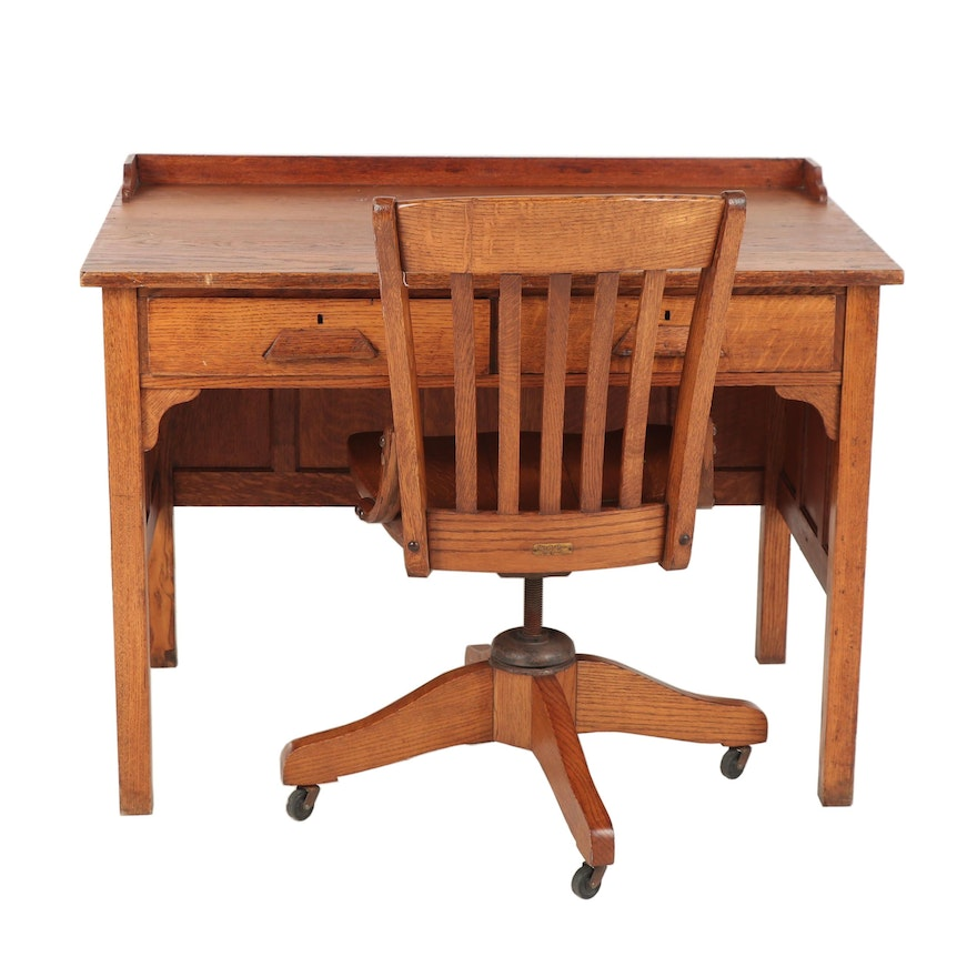 Incredible Antique Oak Desk With Chair Gmtry Best Dining Table And Chair Ideas Images Gmtryco