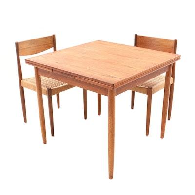 Dansk Hans Wegner Style Danish Modern Teak Draw-Leaf Table and Chair