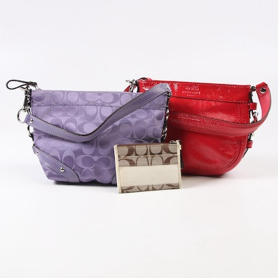 Coach Zoe and Carly Convertible Hobo Bags with Signature Jacquard Coin Pouch