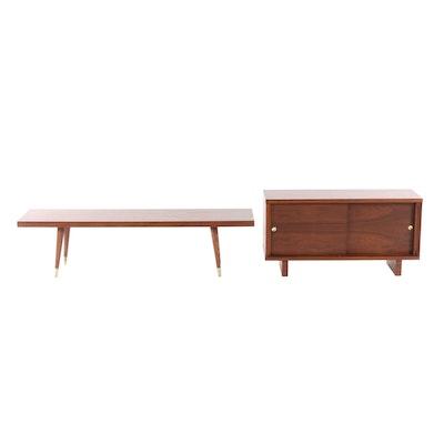 Mid Century Modern Walnut-Finish Wooden Media Cabinet