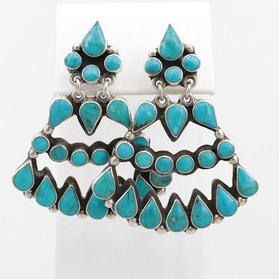 Mexican Sterling Silver Turquoise Dangle Earrings by Federico Jimenez