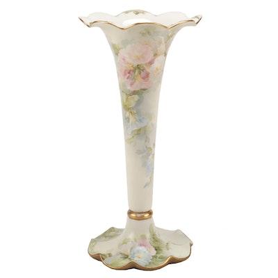 American Belleek Tall Hand-Painted Floral Trumpet Vase