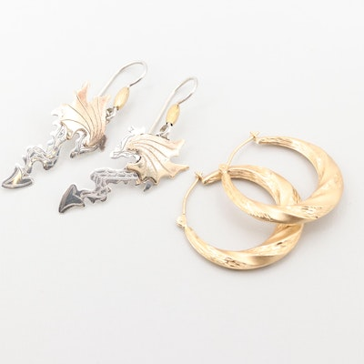 5fd678dd7 Sterling Silver Dragon Earrings with 14K Yellow Gold Accents and Hoop  Earrings