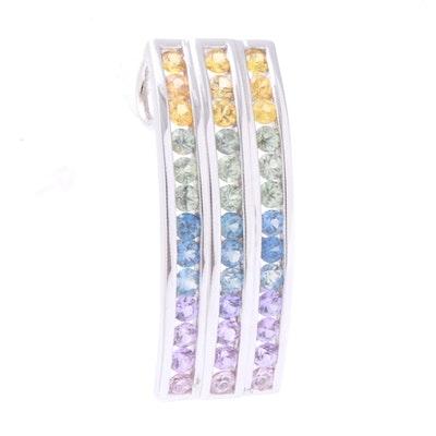 14K White Gold and Rainbow Sapphire Pendant