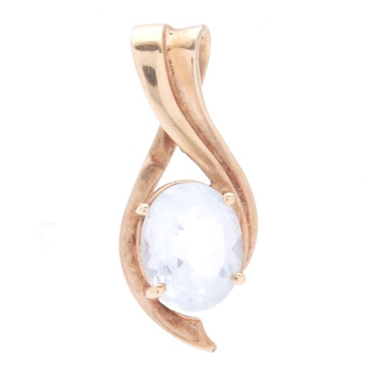 10K Yellow Gold and Blue Topaz Pendant