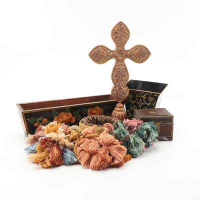 Decorative Tassels, Storage Boxes, and Decorative Cross