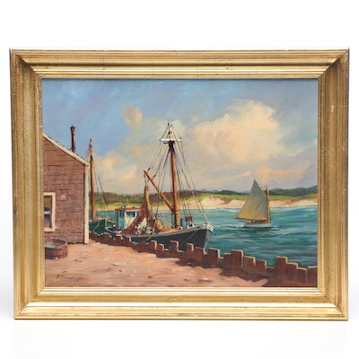 F. Ferruzza Harbor Scene Oil Painting