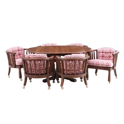 Oak Extension Table and Six Captains Style Chairs, Mid-20th Century