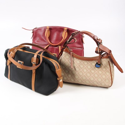 Dooney & Bourke Pebbled Leather and Canvas and Leather Handbags
