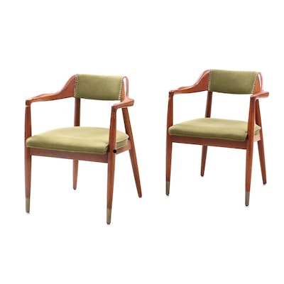 Pair of Walnut Arm Chairs, Mid-20th Century