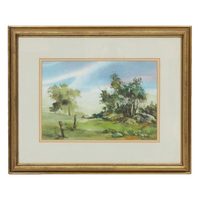 Gustave Wander Rural Landscape Watercolor Painting