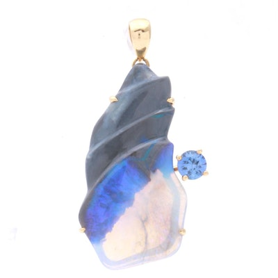 18K Yellow Gold Carved Opal and Sapphire Pendant