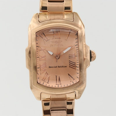 Invicta Lupah Stainless Steel and Rose Gold Plate Wristwatch