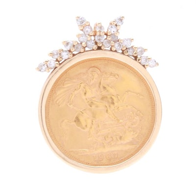 14K Yellow Gold Diamond Pendant with 1967 Queen Elizabeth II Gold Sovereign Coin