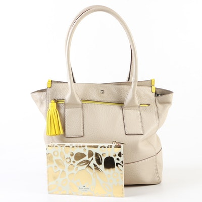 Kate Spade New York Tan Pebbled Leather Satchel with Golden Floral Pencil Pouch