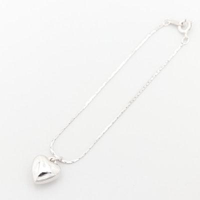 Silver Tone Heart Charm Bracelet