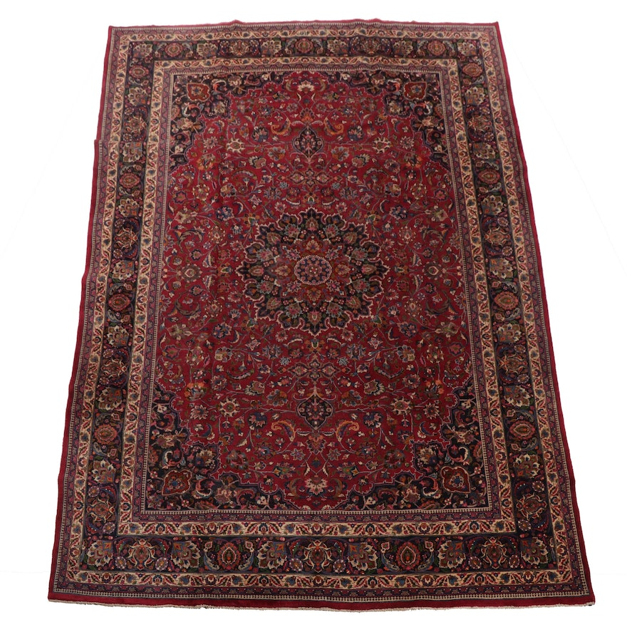 Hand-Knotted Signed Persian Mashhad Room Sized Wool Rug