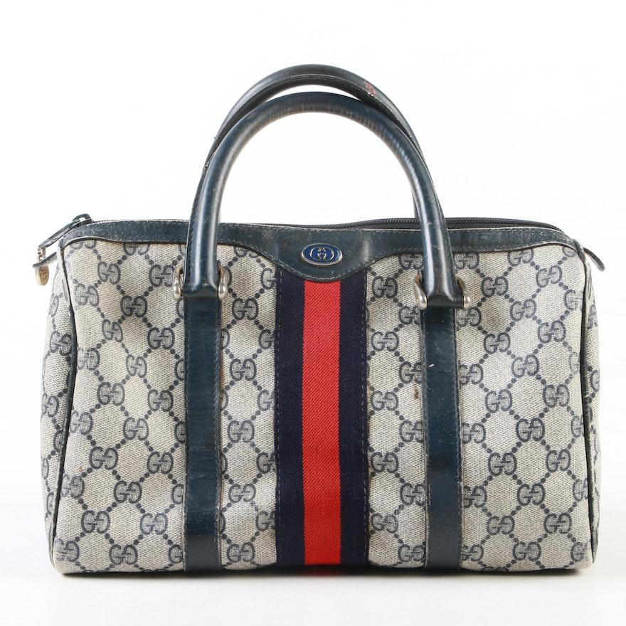 Gucci Accessory Collection Web Stripe Bag in Blue GG Supreme Canvas, Vintage