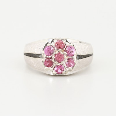 14K White Gold Rhodolite Garnet Ring