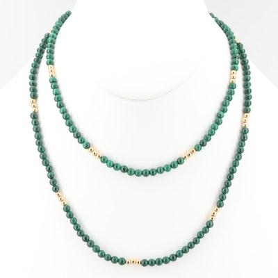 Gold Tone Malachite Beaded Necklace