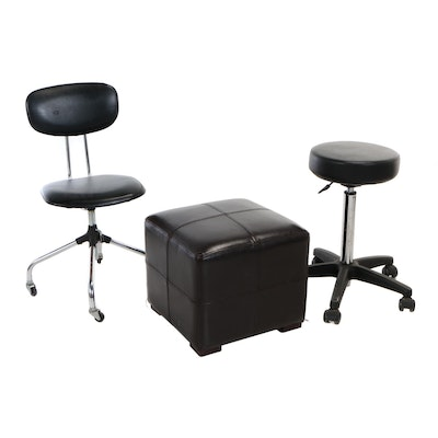 National Office Furniture Co., Rolling Desk Chair Plus Two Contemporary Stools