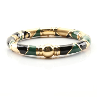 18K Yellow Gold Bangle Bracelet with Black Enamel and Green Stone Sections