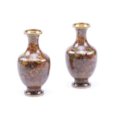 Chinese Floral Cloisonné Vases