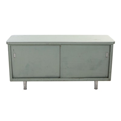 Industrial Green Metal and Laminate-Top Credenza, Mid 20th Century