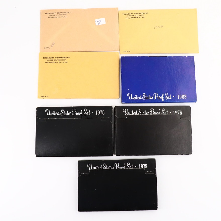 Seven U.S. Mint Proof Set Ranging from 1961-1979