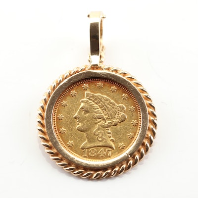14K Yellow Gold Rope Frame Pendant with 1847 $2.5 Liberty Head Gold Coin