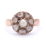 14K Yellow Gold Cultured Pearl and Rose Cut Diamond Flower Ring, Antique