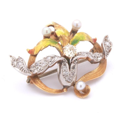 Belle Epoque 18K Gold .67 CTW Diamond and Pearl Converter Brooch, circa 1900