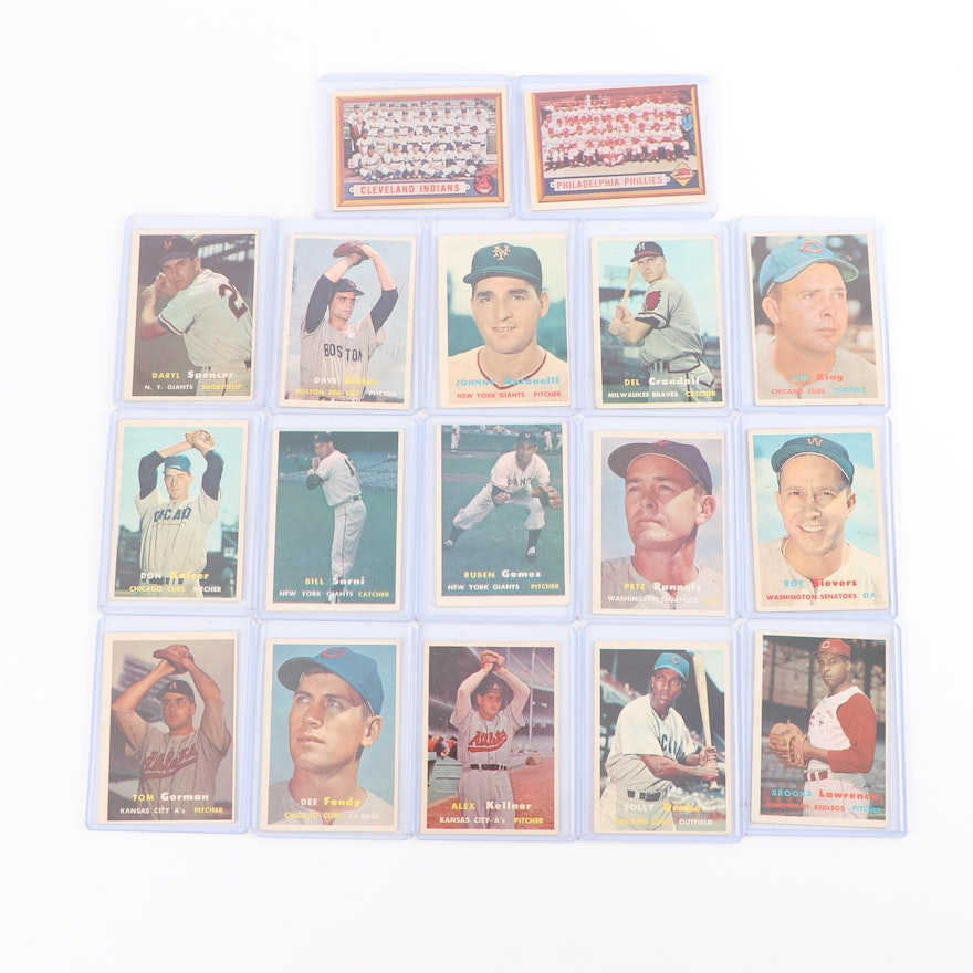 1957 Topps Baseball Cards Including Cleveland Indians Team Card