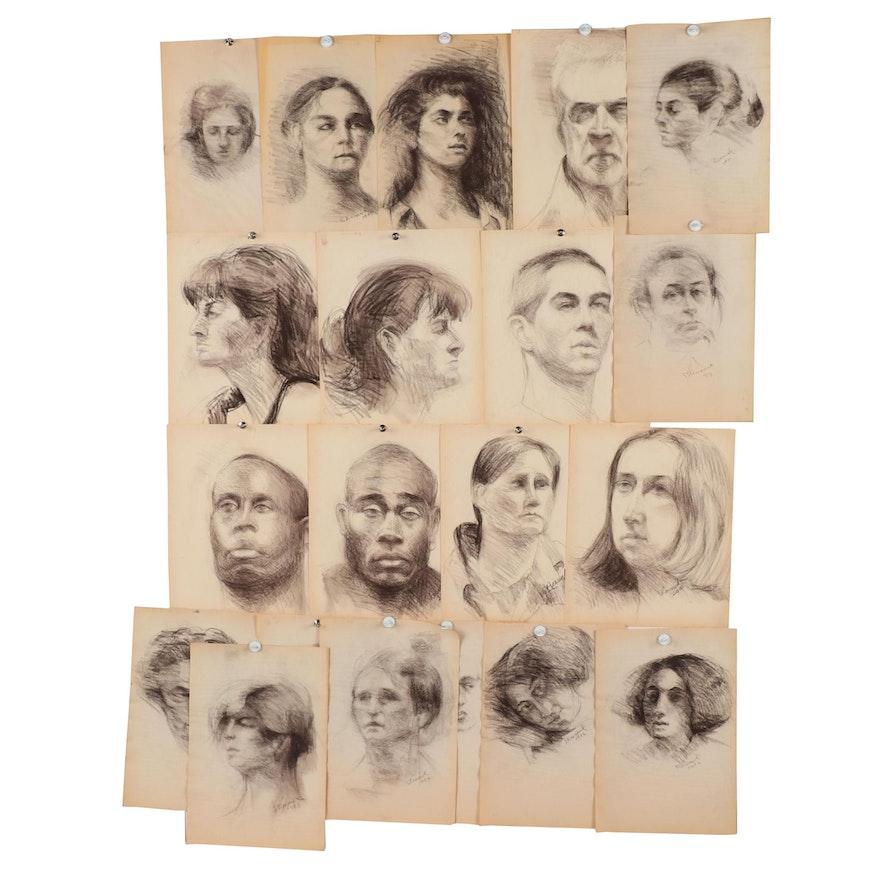 Shirley Resnick Charcoal Portrait Studies, 1990-2000
