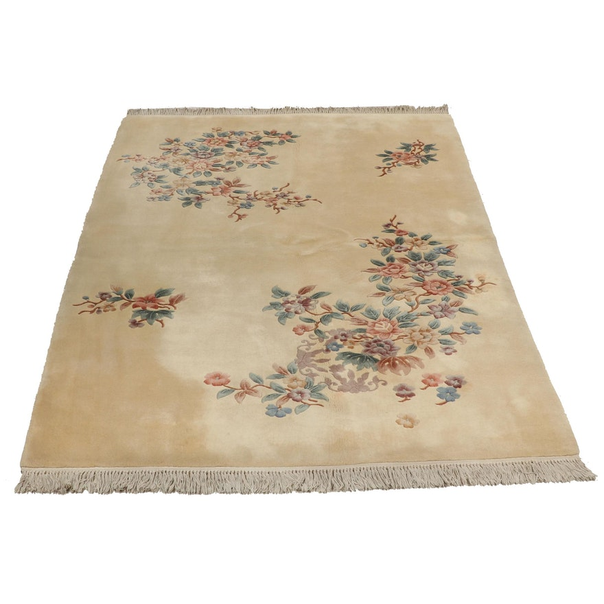 Mer Rugs Hand Knotted Chinese Art Deco Sculpted Wool Rug