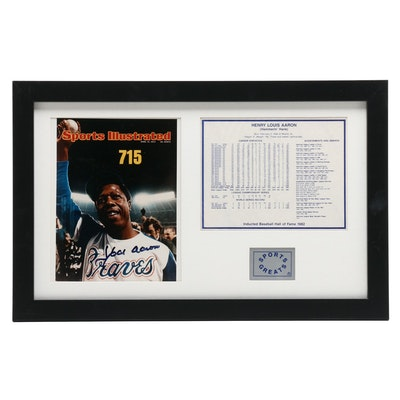 "Hank Aaron Signed Framed Copy of ""Sports Illustrated"" Cover Display, JSA COA"