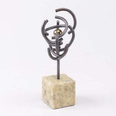 Abstract Iron Sculpture of Italian Marble Base