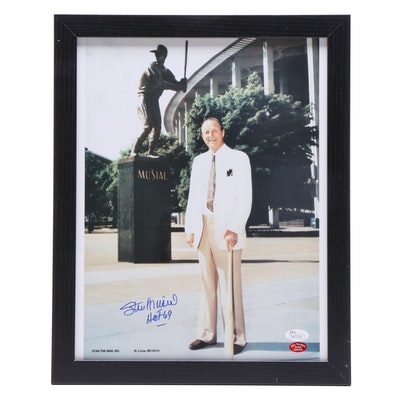 "Stan Musial Signed ""Busch Stadium Statue Dedication"" Framed Photo Print, JSA COA"