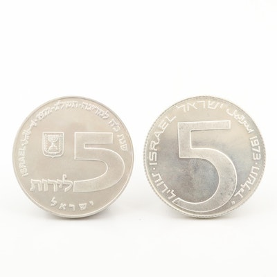 Two Hanukkah Commemorative Silver Coins From Israel