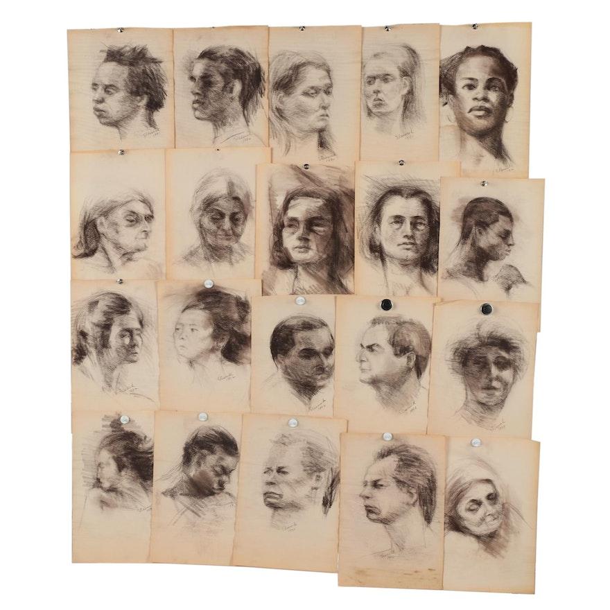 Shirley Resnick Charcoal Portrait Studies, 1990-1993