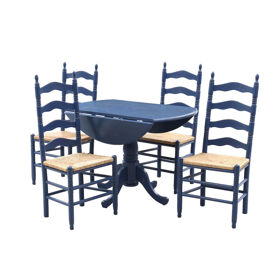 Painted Drop Leaf Dining Table and Ladder Back Rush Seat Side Chairs