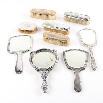 Silver Plate Hand Mirrors and Brushes, Late 19th Century